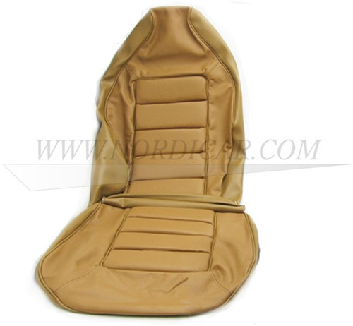 Seat cover set- gold brown leather- seat and back Volvo 1800E 37550- 1800ES 1 stoel 695863