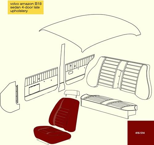 Voortoel Bekleding Rood Volvo Ama Kleurcode 167-502 175-523 416-514 420-532 510-518